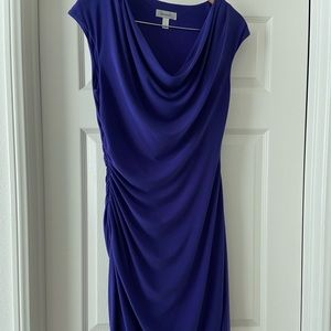 Blue-Violet Ruched Bodycon Dress
